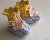 Baby booties Spring Flowers Blue Pink / 0-3M