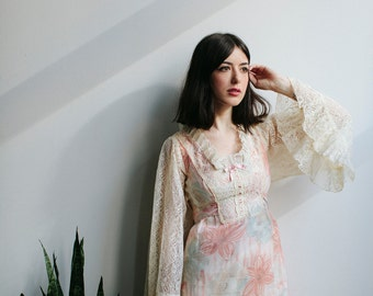 60s Lace Bell Sleeve Floral Mini Dress | Pink Floral | Empire Waist