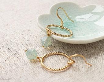 Mint Earrings, Mint & Gold Hoop Earrings, Mint Opal Earrings, Swarovski Crystal Jewelry, Mint Weddings, Wedding Jewelry, Bridesmaids Gifts