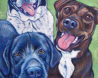 """18"""" x 24"""" Custom Pet Portrait Painting in Acrylic on Canvas of Three Dogs, Cats, or Other Animals OOAK Ready to Hang Art from your Pet Photo"""