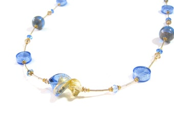 Murano Glass Long Necklace, Blue Gold Necklace, Italian Jewelry, Lampwork Glass Necklace, 24 Inch Necklace, Glass Bead Necklace, For Her