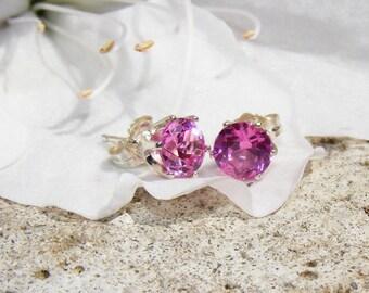6mm Pink Sapphire Stud Earrings