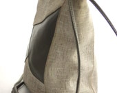 SALE // Green & Tan Faux Linen Purse // Cross-Body Vintage Purse