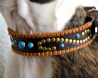 Hualapai Leather Dog Collar with Turquoise Rivets Tan Lacing and Scroll Design Rustic Bohemian Southwest Boho Western Leather Dog Collar