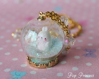 Special Edition: Kawaii White Rabbit Molang in Glass Snow, Hearts, Stars Globe Ring Terrarium