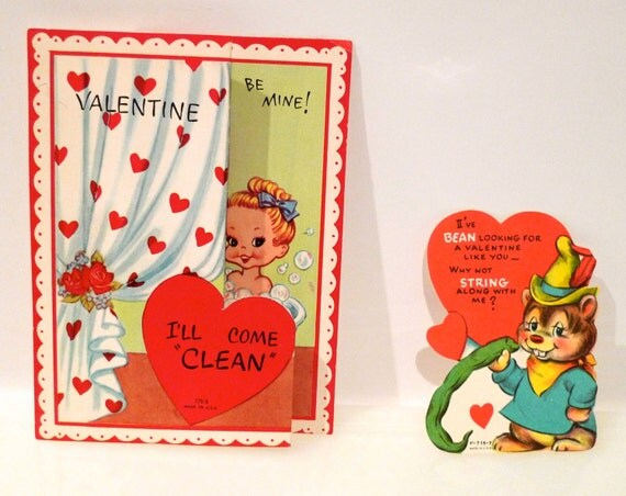 Valentines Day Card Set of 2 kitsch 1940s  Pun Gag Paper Ephemera Greeting Card Vintage Antique naughty but nice  FREE US SHIPPING