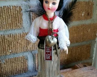 Art doll repurposed doll head mixed media art vintage salt shaker and feathers