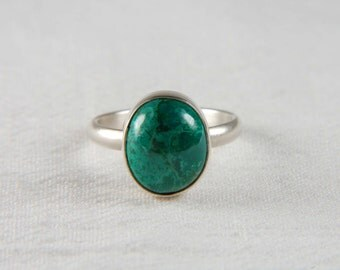 Chrysocolla Ring Artisan Ring Handmade Silver Ring Natural Stone Ring Green Ring Custom Ring Chrysocolla Jewelry