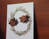 Bumble Bees in Maple Wood Laser Cut Earring Posts Studs, FREE Aust Shipping