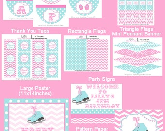 Ice Skating Birthday - Ice Skating Party - Pink and Blue - PRINTABLE Personalized Package - Chevron