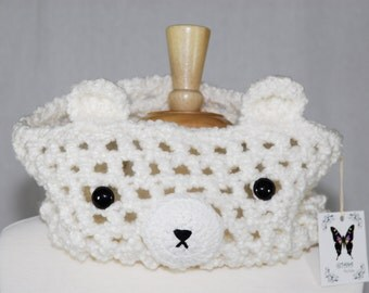White Polar Bear Crochet Cowl - Crochet Cowl - Crochet Scarf - Neck Warmer- Kawaii - Unique Cowl- Women Scarf- Bear scarf - Animal Scarf