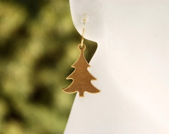 Christmas Tree Earrings -- Gold Pine Tree Earrings, Xmas Earrings