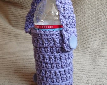 Lavender Bicycle Bottle Carrier, Fully Adjustable, Cotton  - USA Grown Cotton Shipping Included