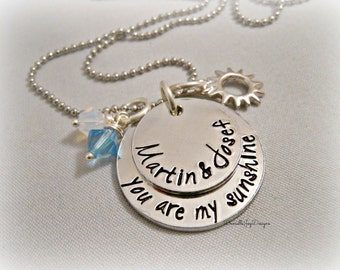 """Stamped Jewelry Personalized Jewelry  Stamped """"You Are My Sunshine"""" Necklace"""