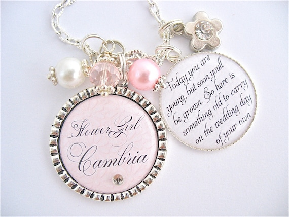 Childrens Wedding Gifts: Personalizd FLOWER GIRL Gift Charm Necklace Unique Keepsake