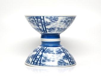 Vintage Bowls Chinese Blue White Bamboo Dessert Bowl Pair