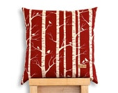 Birch Forest - Organic cotton screen printed cushion cover in red.