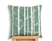 Birch Forest - Organic cotton screen printed cushion cover in Robins Egg.