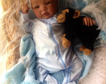 From the Biracial Shyann Kit  Reborn Baby Doll 19 inch Baby Boy Elijah Complete Baby Doll Painted Hair