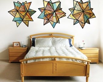 United states maps- Geometric origami stars- set of 3 large size- fabric wall decal
