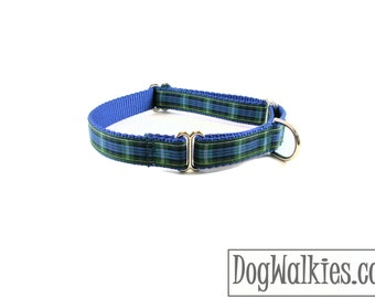 """Campbell Tartan Dog Collar - Blue and Green Plaid Dog Collar - 3/4"""" (19mm) Wide - Martingale or Quick Release - Choice of style and size"""