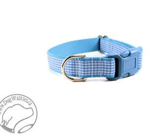 "SALE Blue Sky Picnics Dog Collar - 1"" (25mm) Wide - Martingale or Side Release Buckle - Choice of collar style and size - Blue Gingham Check"