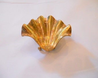 Brass Seashell Decorative Nautical Soap Dish Key Holder Brass Shell Jewelry Dish Candle Holder Hollywood Regency