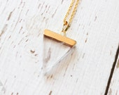 Clear Crystal Gold Dipped Triangle Pendant - Necklace - Blue - Translucent - Gold - Custom Length - Geometric