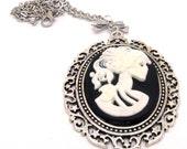 Steampunk Necklace, Rockabilly Necklace, Cameo Necklace, Skeleton Necklace, Lolita Necklace, Goth Necklace