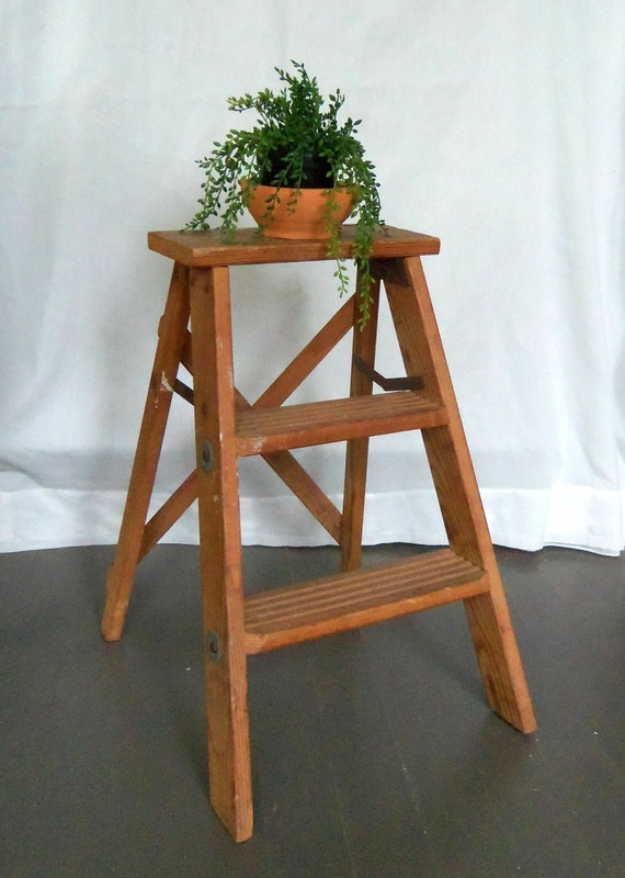 Rustic Wooden Step Ladder Vintage Stool Farm House
