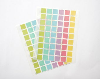 Square Stickers, Pastel/Colorful/Multicolor Paper Stickers, Size 15x15mm, Set of 2 sheets or 108 stickers