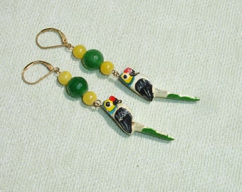Wooden Parrot and Gemstone Summer Dangle Earrings with European Leverbacks