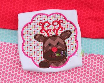 Girl Reindeer Embroidered Shirt - Christmas Shirt - Reindeer Shirt - Girls Christmas Shirt - Holiday Shirt - Reindeer Scallop Shirt - Santa