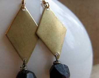 brass diamond and natural GARNET crystal earrings