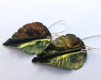 Birch Leaf Earrings, Fold Formed Nature Jewelry