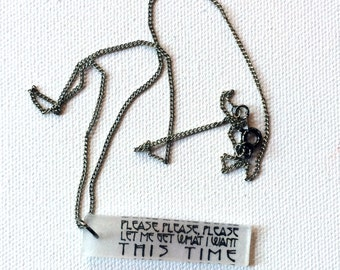 The Smiths Jewelry // Please Please Let Me Necklace // Morrissey Jewelry // Pendant Necklace // Lyrics Necklace // Chain Necklace