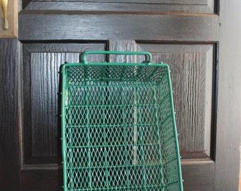 Vintage Green Metal Basket