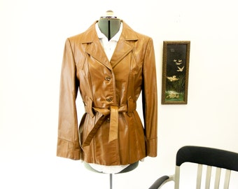 1970s Ladies Leather Jacket Vintage Womens Brown Leather Western Cowgirl Style Genuine Leather Coat with Belt by Miss Simone - Size 18