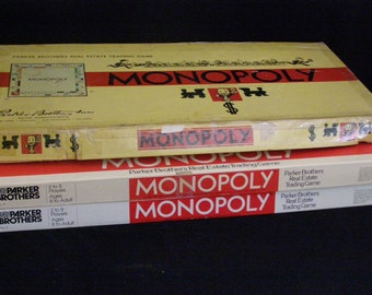 Parker Bros Monopoly Game Lot 3 Games 1946 and Two 1978 Wood Markers in One Metal Game Pieces other