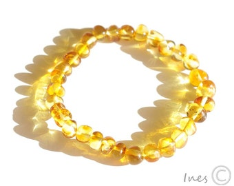 Baltic Amber Bracelet Lemon Color Rounded Beads
