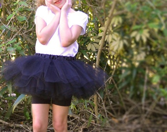 Midnight Black Sewn Tutu, Size 2T to 4T, Ready to Ship, 8-in Long