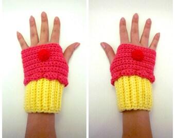 Cupcake Geeky Gauntlets. Dessert Wristwarmers. Cupcake Fingerless Gloves. Super Yummy Series. Kawaii Crochet Lolita Cosplay. Pink Yellow.
