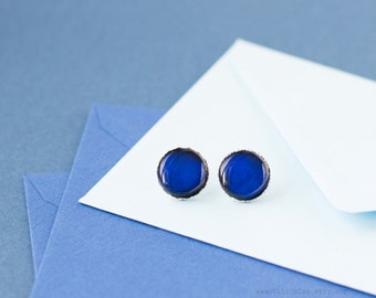 Navy blue stud earrings, blue studs, blue ear posts, winter jewelry, nautical blue, dark earrings, blue earrings