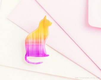 Ombre yellow pink cat brooch, ombre jewelry, cat silhouette, cat jewelry, animalistic jewelry, woodland, minimalist, pastel