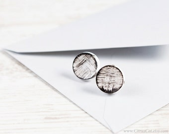 White platic stud earrings with black paint. Black and white stud earrings, large post earrings, minimalist jewelry, paint stud earrings