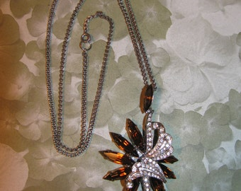Vintage Art Deco Amber And Clear Rhinestone Necklace