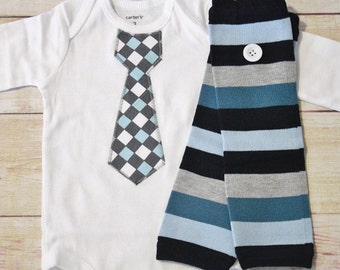 Baby Boy Tie Bodysuit and Matching Baby Legs - Gift Set - Baby Boy Picture Outfit - Shower Gift