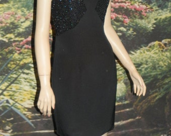 Dress Oleg Cassini Striking 100% Silk Black Beaded Accent Top Semi-Fitted Sexy Summer Event Dress Fully Lined 6
