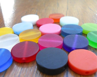 Resin Beads mixed bag of 18 x 15mm resin coin beads