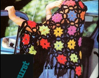 No.207 Crochet Shawl Pattern PDF Vintage Womens Starburst Shawl - Triangular - Seamless Join As You Go Flower Motifs - Retro Crochet Pattern